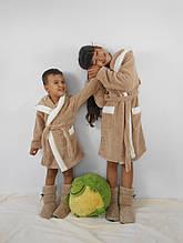 Детский бежевый махровый халат Зайка