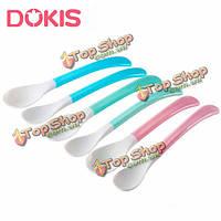 2шт dokis безопасности младенца ребенка мягкий головной ложка набор кормления суп посуда