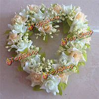 6 цветов моделирования цветок сердца венок искусственный роз сердце гирлянда дома Свадебный декор