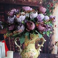 12 главы искусственных пион шелковые цветы моделирования пион домашний праздник Свадебный декор