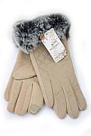 Перчатки с мехом пастельного цвета, фото 1