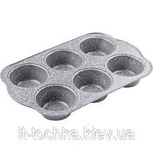 Противопригарная форма для выпечки кексов lamart lt3041 с мраморным покрытием на 6 штук