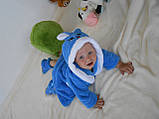 Детский голубой махровый халат Зайка, фото 3