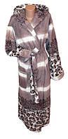Длинный цветной махровый халат с капюшоном