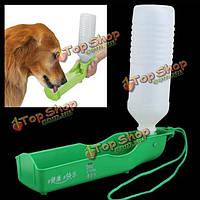 Пластиковые портативный кота собаки любимчика вода подавая фидер бутылки пить чашу