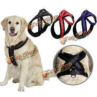 Регулируемая домашних собак упряжь ходьба нагрудный ремень ведущий поводок D-кольцо
