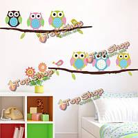 Съемный сова птицы ветка виниловая детская комната стены стикеры