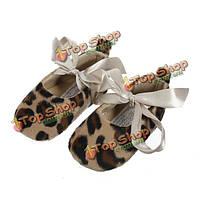 Леопард девочки малыш младенческой лента противоскользящая обувь