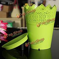 Пластиковые красочный завод горшок цветок плантатор лоток домашний офис декор кружевом