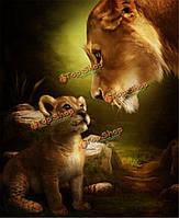Поделки номера живописи маслом комплект бескаркасных цифровой львица и львенок рисунок декора стен дар 40x50cm