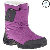 Детские зимние сапоги фиолетовые на липучке, водонепроницаемые и дышащие