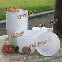 Белый круглый цветочный горшок пластиковый цветочный горшок сад