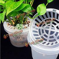 Пластиковые гидропонной посадки сетки сетчатый горшок ампельное растение выращивать чашки комплект