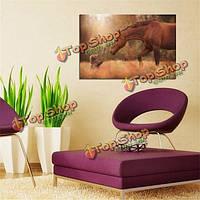 Дружба лошади и собаки шелка плакат животное печать стены украшения дома ткани природы