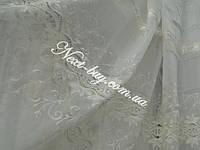 Тюль кристалон с атласной лентой «Альбина» молочный