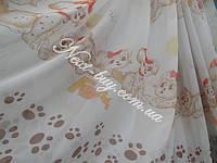 Детская тюль шифон «Далматинец» белый с коричневым