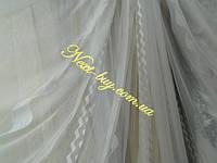 Шифон / тюль белая с абстрактным вертикальным узором «Cassandra»