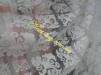 Органза тюль с геометрическим узорным рисунком «Diane» белая