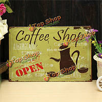 Кафе открыты лист рисунок ретро металл живопись паб-клуб кафе плакат знак олова декор металла