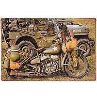 20x30см нам армия Второй мировой войны Harley Военный мотоцикл листового металла рисунок знак металла декор стен