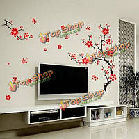 Красные цветут цветы дерево съемные стены наклейки