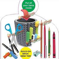Творческий кирпичный контейнер держателя карандаша ручки сделай сам опрятный стол стандартного блока