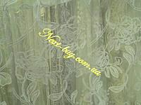 Тюль сетка с цветочным узором «Nelly» белый Турция