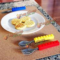 3шт творческая столовая посуда стандартных блоков портативная столовая посуда столового прибора ложки вилки блока