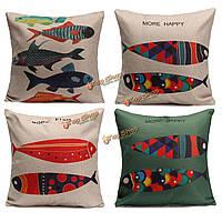 43 * 43см 4 типов разноцветных рыб белье наволочки хлопок наволочки