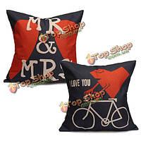 Творческой любителей хлопок льняная подушки случаях mr & миссис сердце Диван подушки покрывало