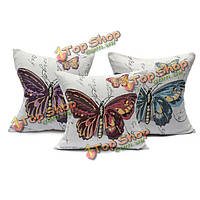 Винтажные бабочка Рами хлопка наволочка дело домашнего офиса подушки