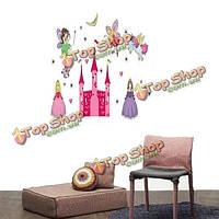 Принцесса сказочный розовый замок и пони съемный стикер стены девушке подарок малыша
