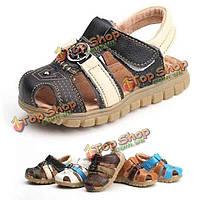 Лето малышей младенца кожаные мягкие подошва сандалии обувь