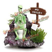 Скелет на туалетной действия воздуха орнаментом аквариума