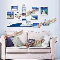 Море маяка парусной лодки обманывает стенной стенной внутренний декор обстановки фона этикетки