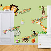 Мультфильм животных стикер стены гостиной украшения дома творческой деколи поделки росписи стены искусства
