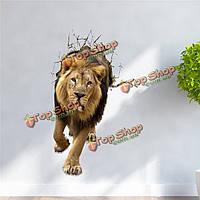 Лев стикер 3d вол стены наклейки животное съемные стикеры стены отверстие домашнего декора комнаты подарок
