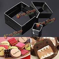 3шт квадратные формочки бисквитный Cake прессформы нержавеющей стали, фото 1