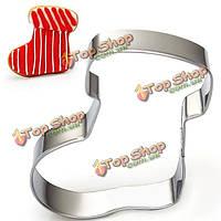 Нержавеющая сталь Рождественский носок резец печенья печенья фондант торт прессформы, фото 1
