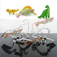4шт нержавеющая сталь динозавра бисквитного печенья инструменты, фото 1