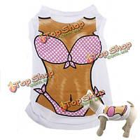 Сексуальное бикини кота собаки любимчика белый жилет одежду