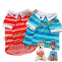 Собаки любимчика полосой поло т-рубашки летняя одежда, фото 1