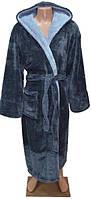 Мужской теплый пушистый халат-серый