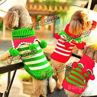 Рождество красный зелеными полосами шерсть шар водолазка свитер собаки, фото 1