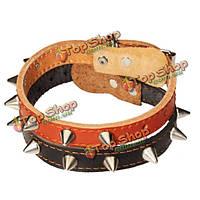 Один ряд серебристыми шипами шипованных кожаный ошейник животного, фото 1