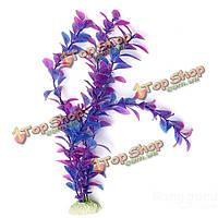 Аквариум синий фиолетовый пластиковые искусственные растения украшение для аквариума, фото 1