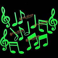 15 музыкальный символ флуоресцентные светящиеся в темноте наклейки на стену, фото 1