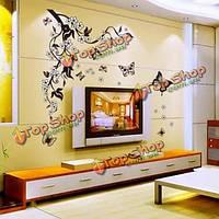 DIY наклейки домашнего декора цветы бабочки съемный бумага стены наклейки искусства, фото 1