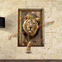 3D лев стены наклейки животное вол наклейки съемные стикеры картина домой малыша декор комнаты подарок, фото 1