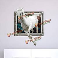 Белый конь 3d стены наклейки наклейка вол съемная стена подарок наклейки искусства животных домашнего декора, фото 1